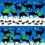 Reindeer Christmas Silhouettes and Isolated on White