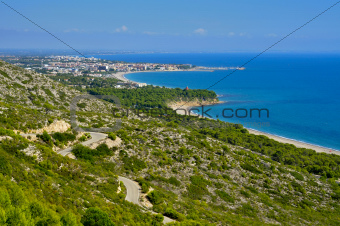 Torn Beach and the coast of Hospitalet del Infant, Spain