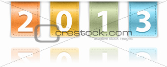 2013 digits on colorful leather background insets