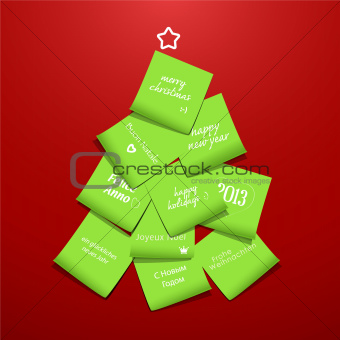christmas tree made from post it