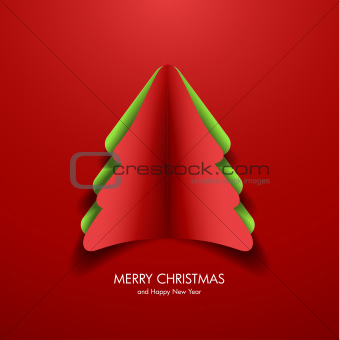 Greeting card with paper christmas tree