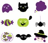 Halloween icon set isolated on white