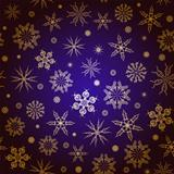 Gold snowflakes on a blue background.