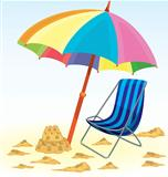 Beach umbrella chair sand castle