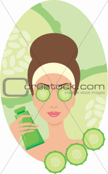 Beautiful young woman with a cucumbers on eyes