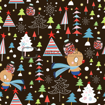 texture of bears and Christmas trees