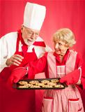 Chef and Housewife Baking Cookies