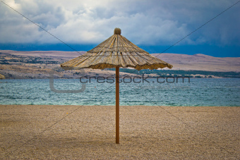 Famous Zrce beach umbrella out of season