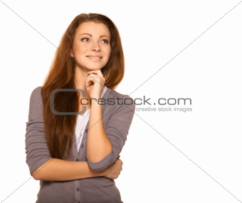 woman in casual clothes thinking with hand on chin