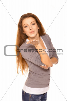 Closeup of flirtatious young woman pouting