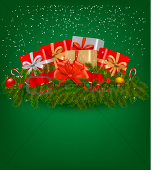 Christmas background with presents and a red ribbon
