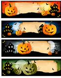 Four Halloween banners