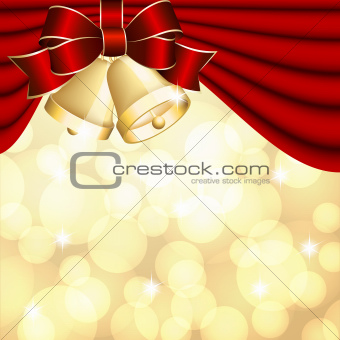 Christmas background with red curtain and gold bell.
