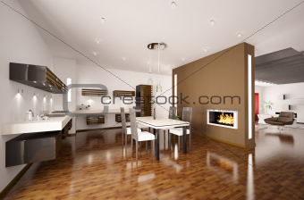 Modern kitchen with fireplace 3d render