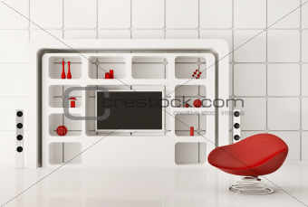 Modern white interior 3d render
