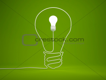 Light bulb symbol on green background