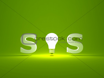 SOS sign with light bulb