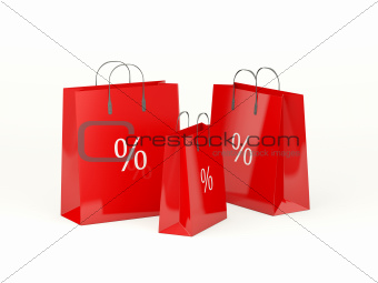 Three shopping bags isolated on white