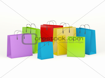 Group of shopping bags isolated on white