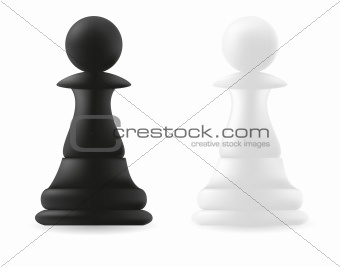 pawn chess piece black and white
