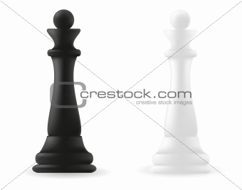 queen chess piece black and white
