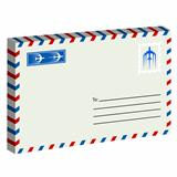 White  envelope with stamp. Vector illustration.