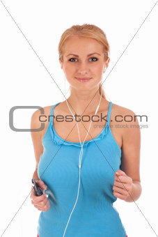 Happy young woman running