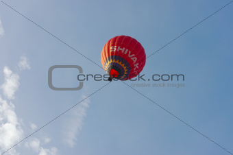 hot-air balloon gathering in the valley of the temples at Paestum