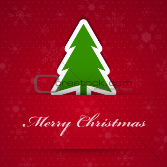 Merry christmas background with fir tree.