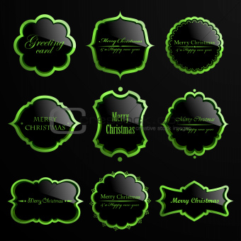Set of christmas green luxury labels.