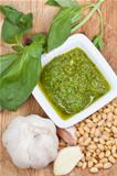 top view on italian pesto with fresh ingredient