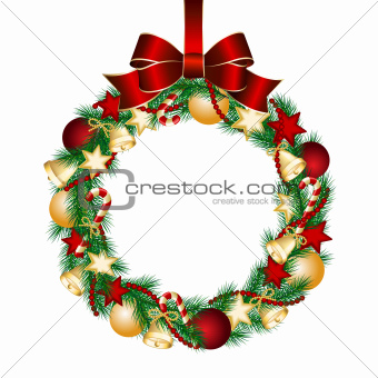 Christmas wreath decoration from fir branches.