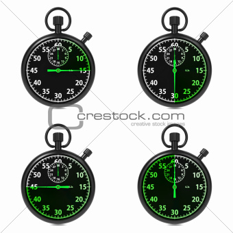 Stopwatch - Green Timers. Set on White.