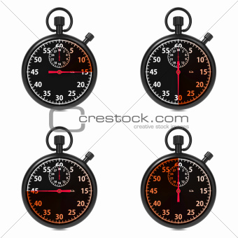 Stopwatch - Red Timers. Set on White.
