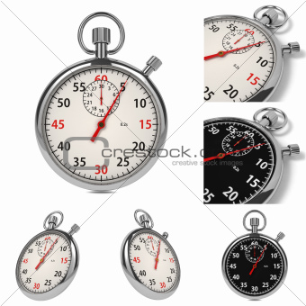 Stopwatch Set on White Background.