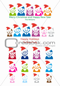 Family Christmas card, vector people icon set