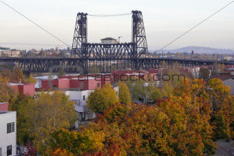 Steel Bridge Over Willamette River In Fall