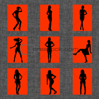 Background with set of sexy women silhouettes