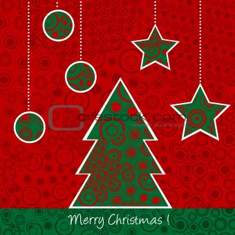 Christmas card with Christmas tree and balls