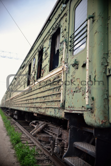 Old thrown train cars