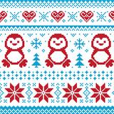 Christmas and Winter knitted pattern, card - scandynavian sweater style