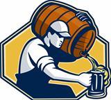 Bartender Worker Pouring Beer From Barrel To Mug