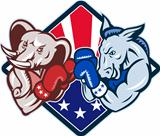 Democrat Donkey Republican Elephant Mascot Boxing