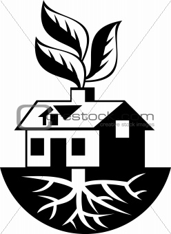 House With Roots and Leaves Sprout