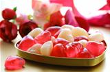 jelly hearts with flowers and ribbons,  sweet Valentine&#39;s Day