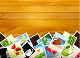 Colorful photos on wooden background