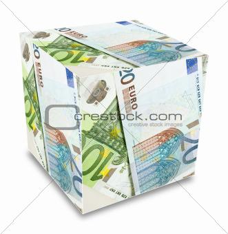 Euro banknotes cube concept