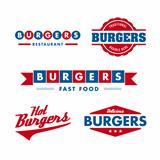 Fast food restaurant logo set