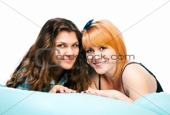 two girls on pillow