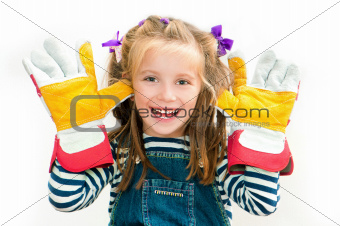 smiling girl with gloves